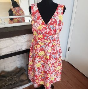 Spense red floral cross too dress. Size 10
